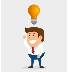 Man character idea bulb icon design vector