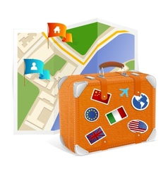 Map icon and suitcase vector