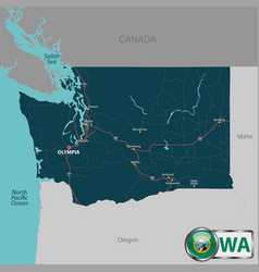 map of state washington usa vector image