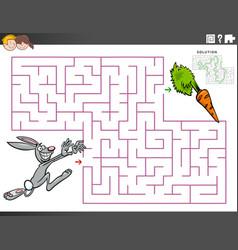 maze educational game with cartoon rabbit vector image