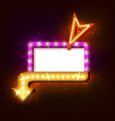 Neon sign with arrow and glowing light background vector