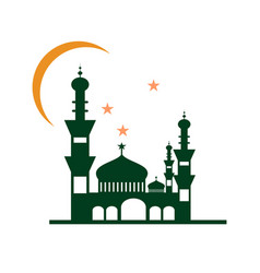 Night at mosque building design vector