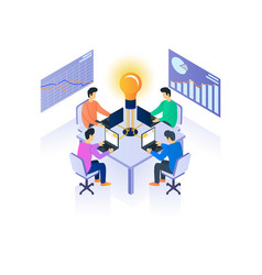 office teamwork isometric vector image