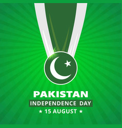 Pakistani day medal with flag on abstract glowing vector