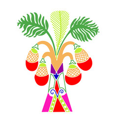 palm tree with coconuts in a decorative modern vector image