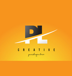 Pl p l letter modern logo design with yellow vector