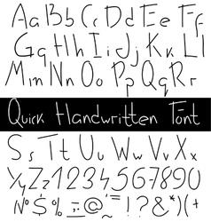 Quick handwritten font vector image