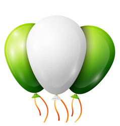 Realistic green white balloons with ribbons vector