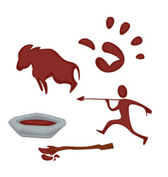 rock art paint in bowl hunter palm and ox images vector image
