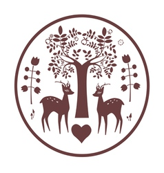 Round design with fantasy deer and tree vector image
