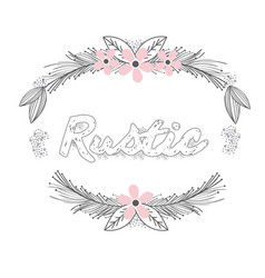 rustic wreath hand drawn vector image