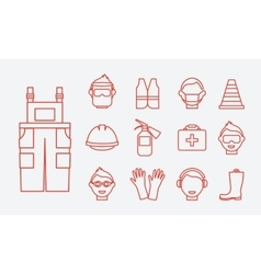 Safety at work job line icons set vector
