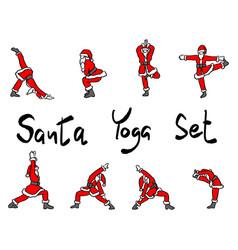 Santa claus doing yoga set sketch vector