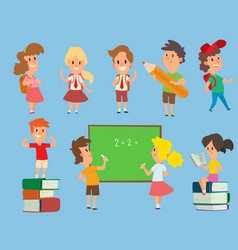 Schoolkids study back to school childhood vector