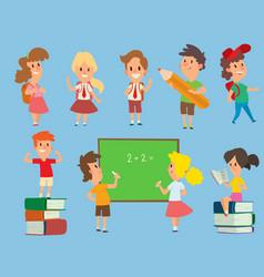 Schoolkids study back to school childhood vector