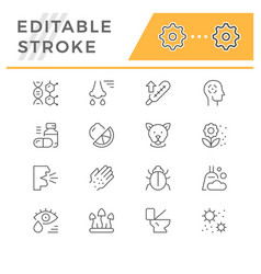 set line icons allergy vector image