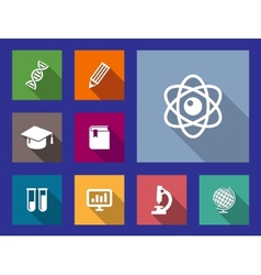 Set of flat education and science icons vector image