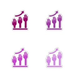 Set of paper stickers on white background hand vector