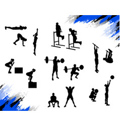 Several male silhouettes doing different crossfit vector