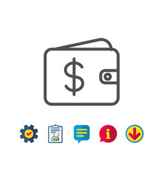Shopping wallet line icon dollar sign vector