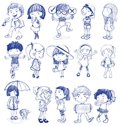 Silhouette of kids vector