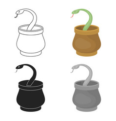 snake in basket icon in cartoon style isolated on vector image