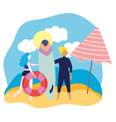 summer people activities surfer with board and vector image