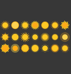 Sun collection icon flat design vector