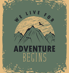 travel banner with mountain and inscription vector image