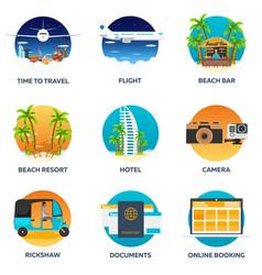 travel set modern flat design vector image