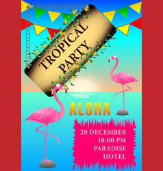 Tropical party flamingo poster vector