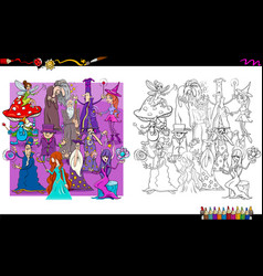 wizard characters group coloring book vector image
