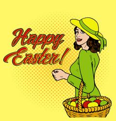 woman with eggs in basket pop art vector image