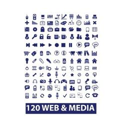 120 media web icons set vector image vector image