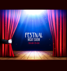 a theater stage with a red curtain and hand vector image vector image