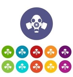 Black gas mask set icons vector image