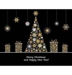 Christmas decoration with fir tree and gifts from vector image vector image