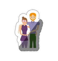 couple romantic togetherness shadow vector image