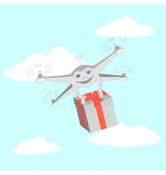 Drone delivers gifts Sky clouds vector image vector image