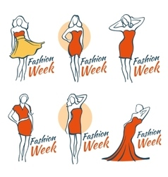 Fashion and beauty logos with woman vector image