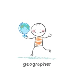geographer is in the hands of the globe vector image