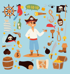 pirate stickers icons vector image