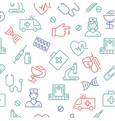 seamless pattern with medical symbols vector image
