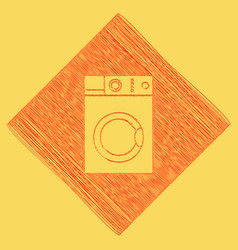 washing machine sign red scribble icon vector image vector image