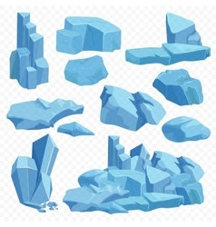 Blue bright crystals Poly mineral stone rocks vector image