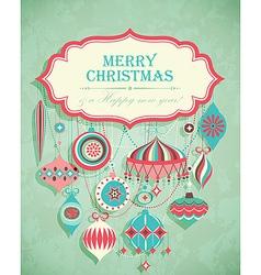 retro christmas postcard vector image vector image