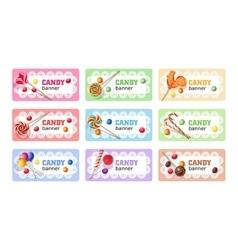 Set of sweet lollipop banners vector image vector image