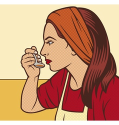 woman in the kitchen pop art vector image vector image