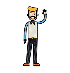 drawing beard man greeting with hand up vector image vector image
