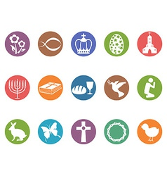 easter day button icons set vector image vector image